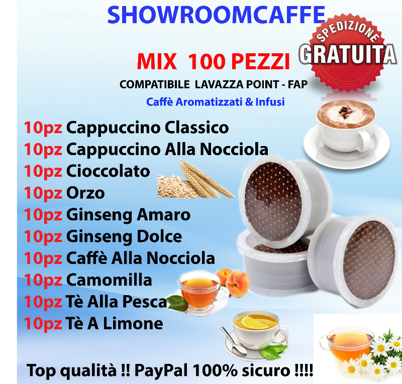 100-Capsules-Compatible-FAP---LAVAZZA-POINT---MIX-Flavored-Coffees-&-Teas