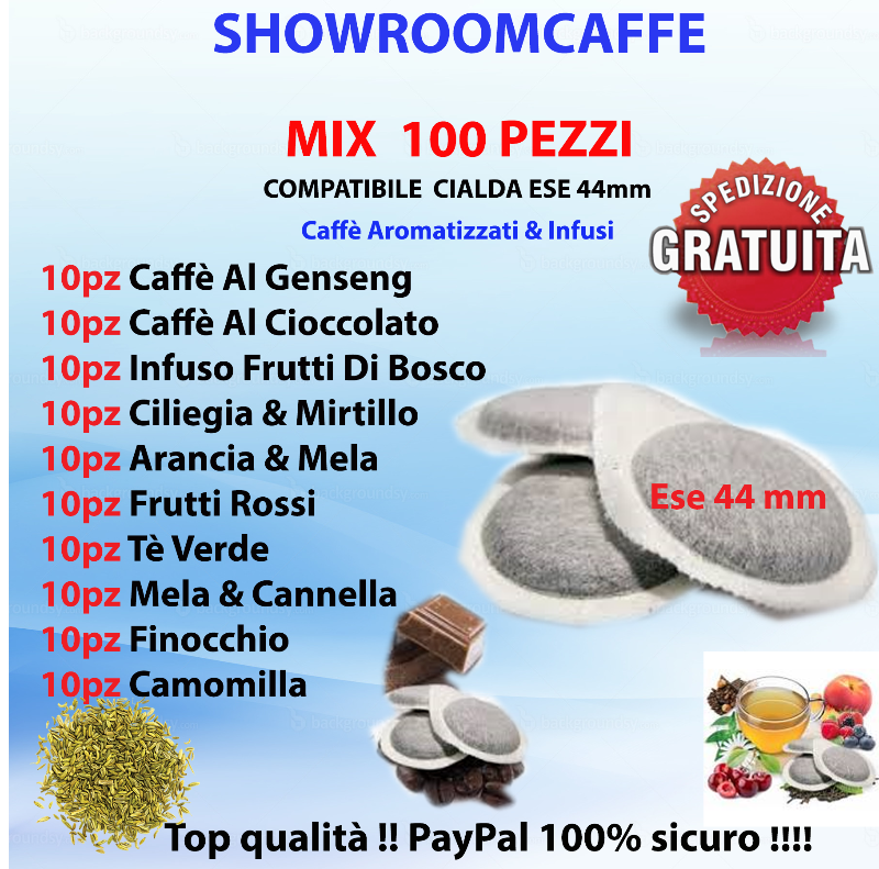 100-Pods-ESE-44mm---MIX-Flavored-Coffees-&-Teas---10pcs-for-every-taste!