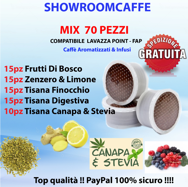 100-Capsules-MIX-Flavored-Coffees-&-Teas---Compatible-FAP---LAVAZZA-POINT